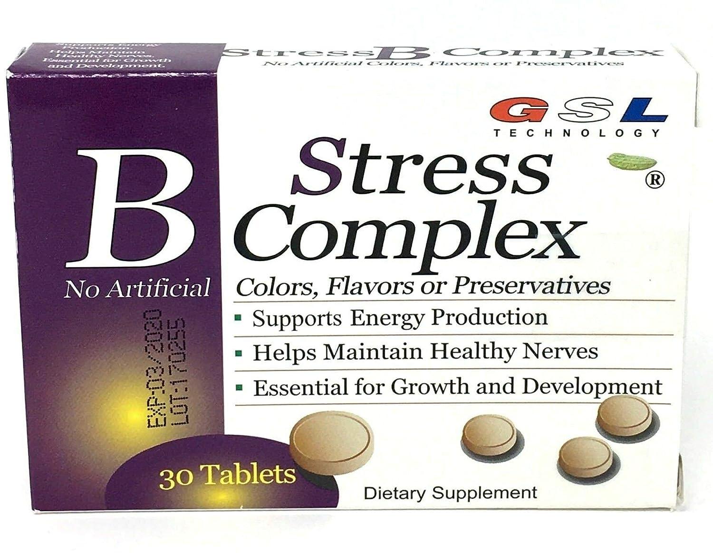 GSL Stress B Complex & VIT C E zinc B12 B6 B2 B3 Folic Acid 30 Tablets -Pack of one