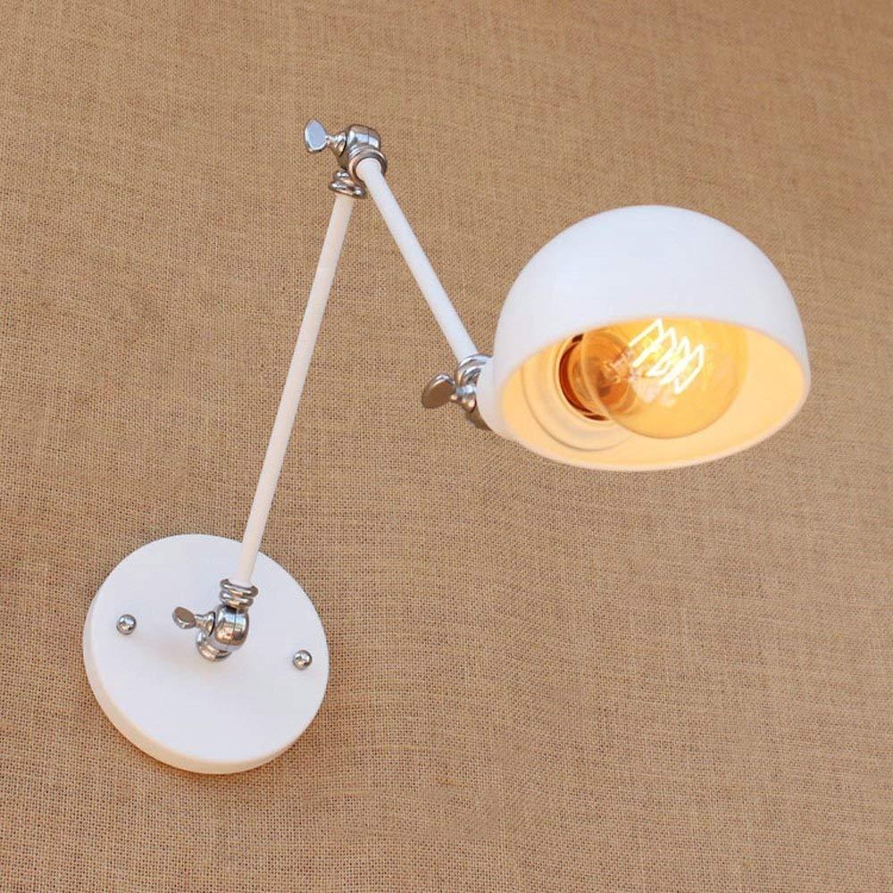 ATR Einstellbare weiße Wandleuchte leuchtet Loft kreative einzelne Kopf Eisen Wandleuchte Lesung 2-Arms Licht Parlroom Schlafzimmer Nachttischlampe Lernen Lampe Studie Wand Laterne E27