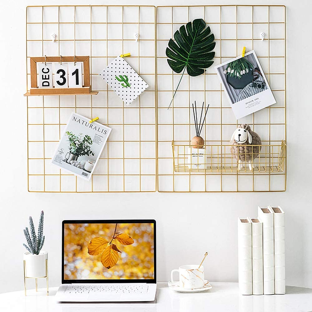 Amazon Com Bulyzer Grid Wire Board For Memo Picture Panel Wall Decoration For Room Office Mat Photo Hanging Art Display Frames Desk Storage Organizer 25 6 X 17 7 2pack Gold Home Kitchen