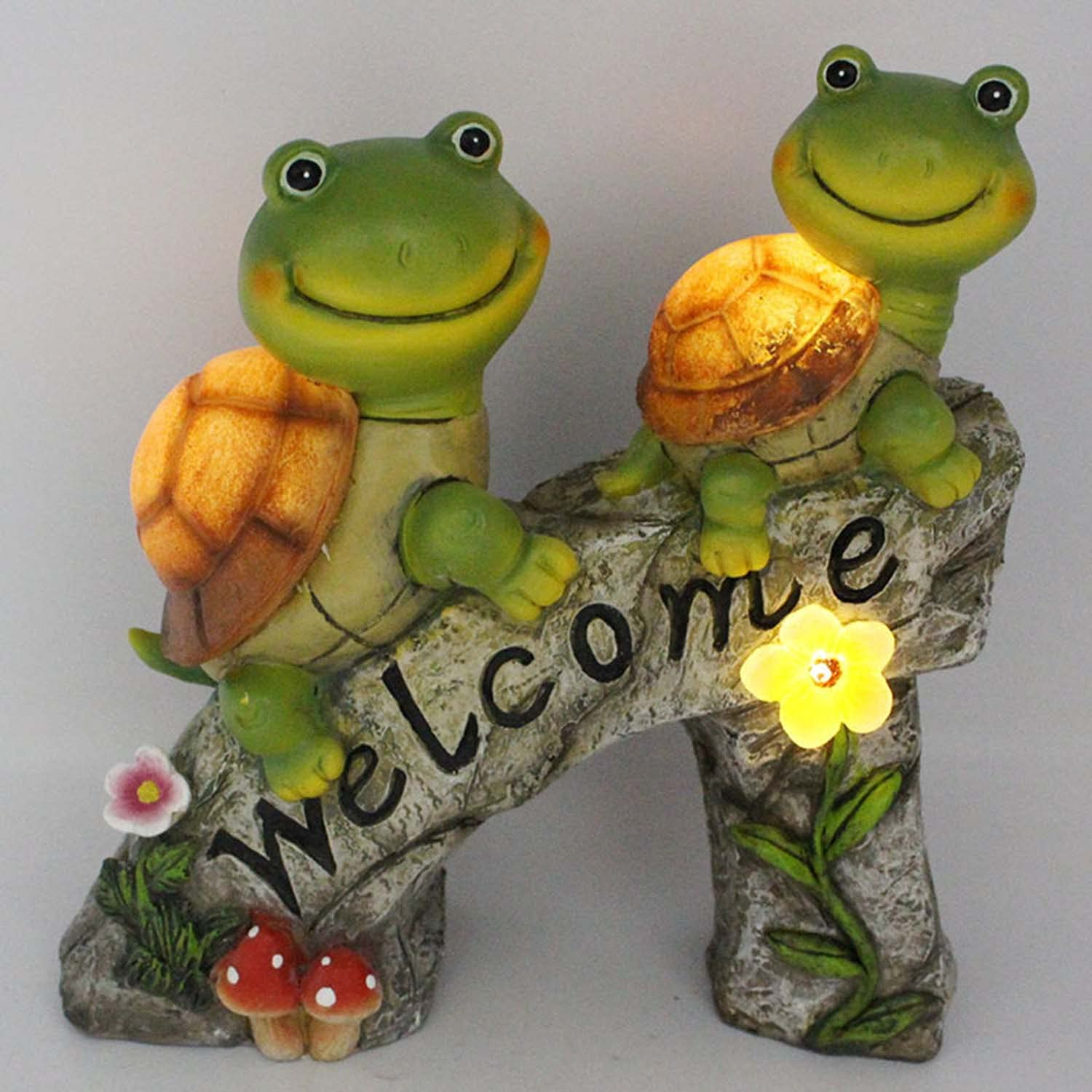 Garden Decor Statue Turtle Figurines Backyard Solar Lights Frog Face Turtles Resin Outdoor Statues Squirrel Figurines Lawn Decor with 4 LED for Patio, Yard, Housewarming, Thanksgiving (Rock Tortoise)