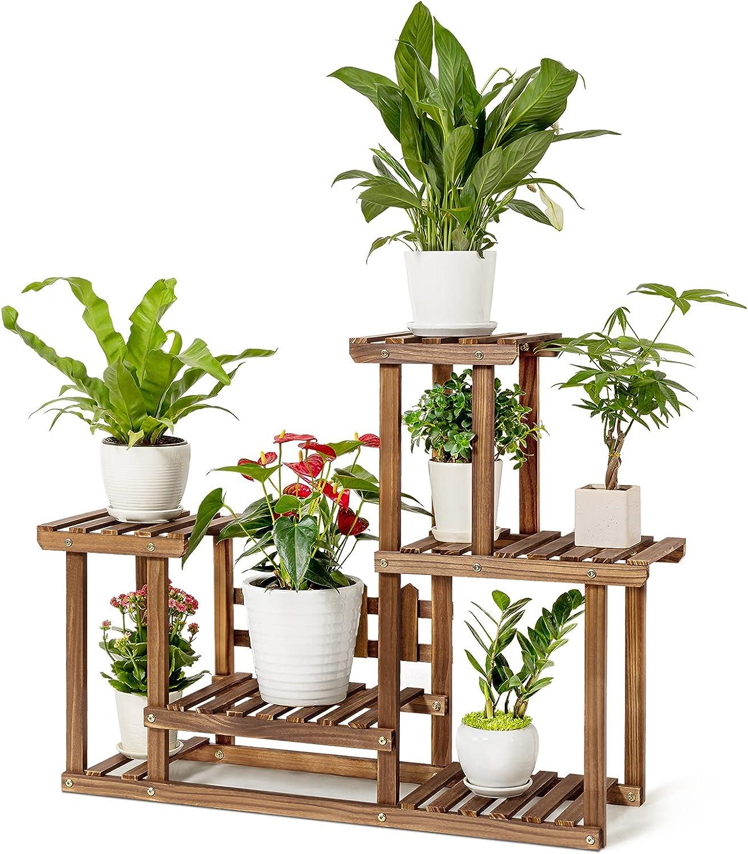 HBlife Pine Wood Plant Stand Indoor & Outdoor Multiple Flower Pots Holder 4 Tier Plant Stand, Garden Plant Shelf Rack Holder, Planter Display Shelving Unit in Garden Balcony Patio Living Room