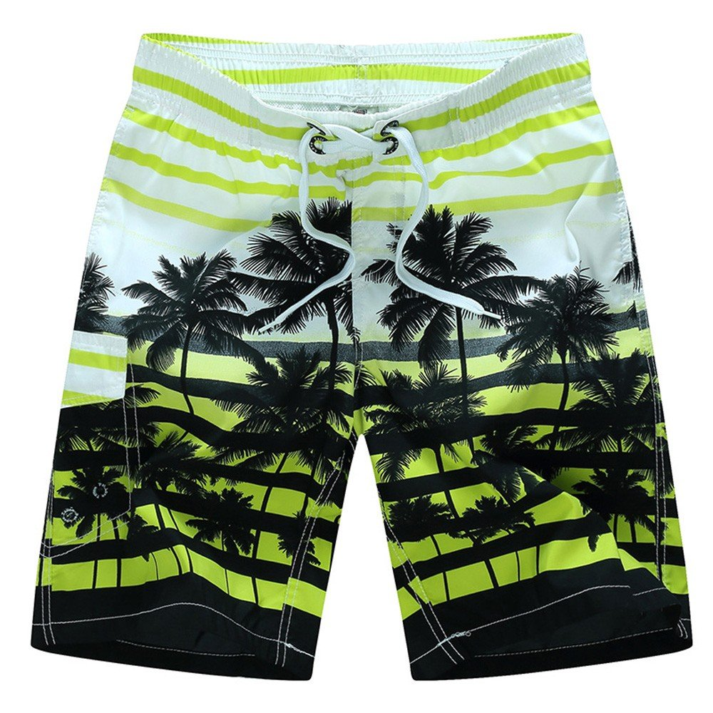 Men's Printing Quick Dry Colorful Stripe Coconut Tree Beach Shorts Swim Trunks Yellow
