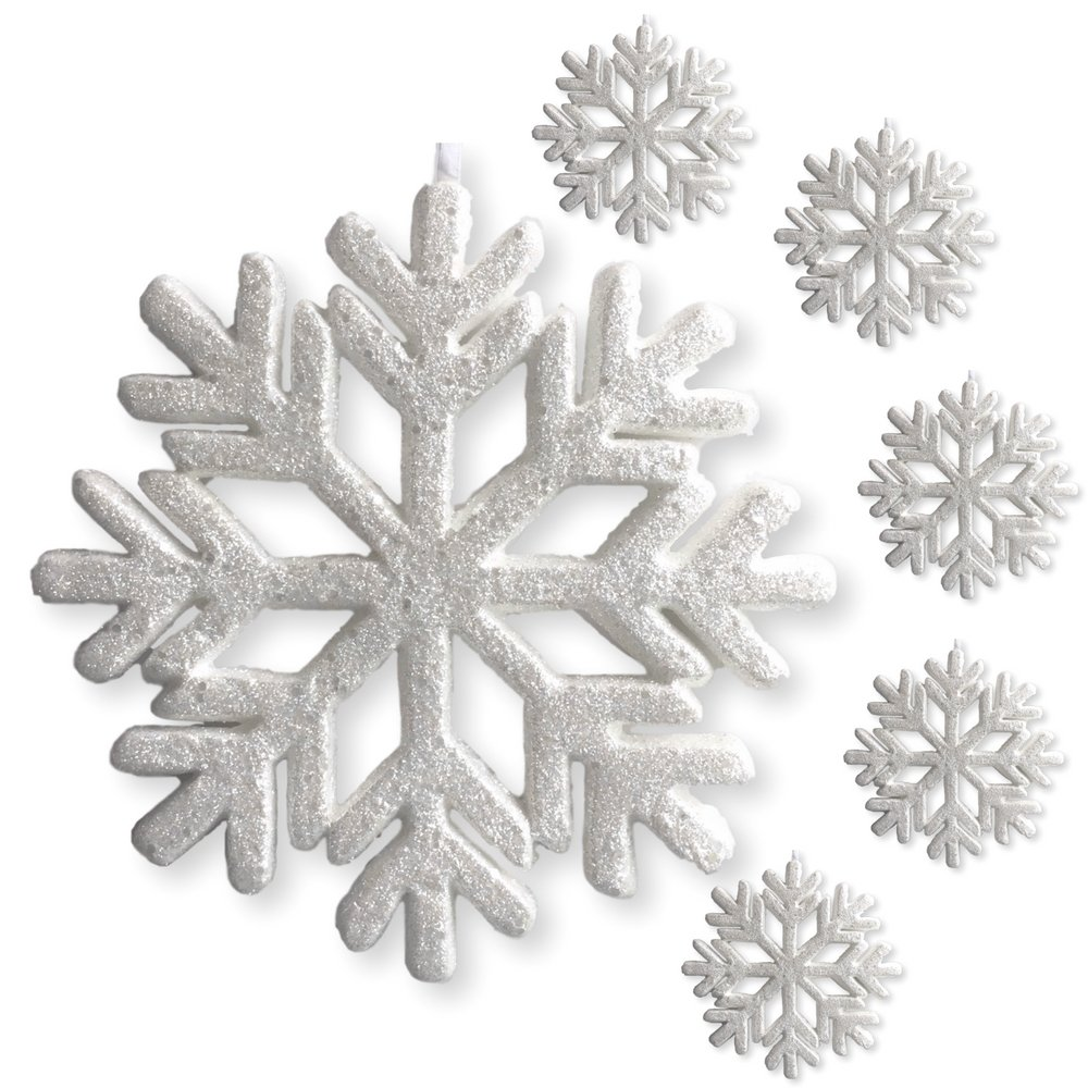 Banberry Designs Large Snowflakes - Set of 6 Silver Glittered Snowflake Ornaments - Approximately 9'' in Diameter - Silver Glittered Decorations - Christmas Decor