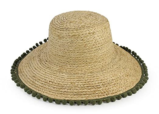 f427b853e Hat Attack Natural Lampshade Olive Poms Sunhat at Amazon Women's ...