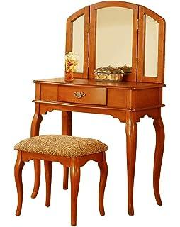 BOBKONA Jaden Collection Vanity Set With Stool, Oak