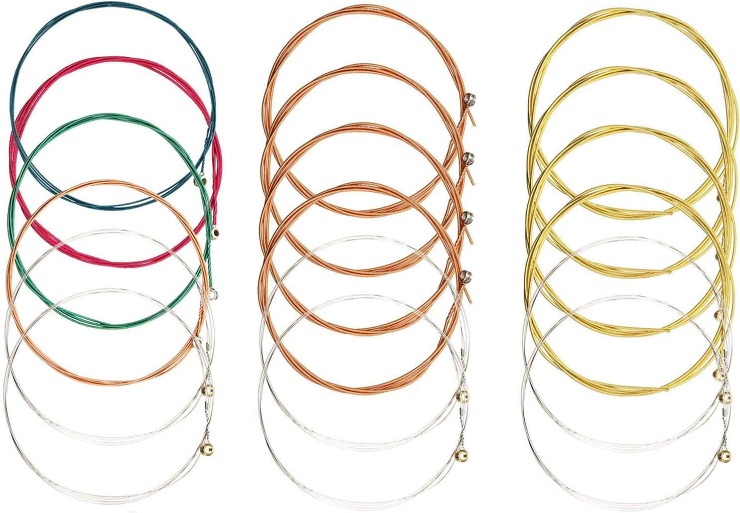 Cuerdas para guitarra acústica, 3 juegos de 6 cuerdas de guitarra de larga duración para reemplazo, paquete múltiple de cuerdas de acero (1 juego de cobre, 1 juego de latón, 1 juego de multicolor