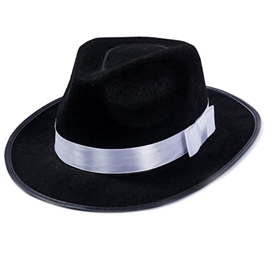 89382ccb3 Funny Party Hats Black Fedora Hat - Gangster Hat - Black and White Fedora  Hat - Mobster Hat (Fedora Hat)