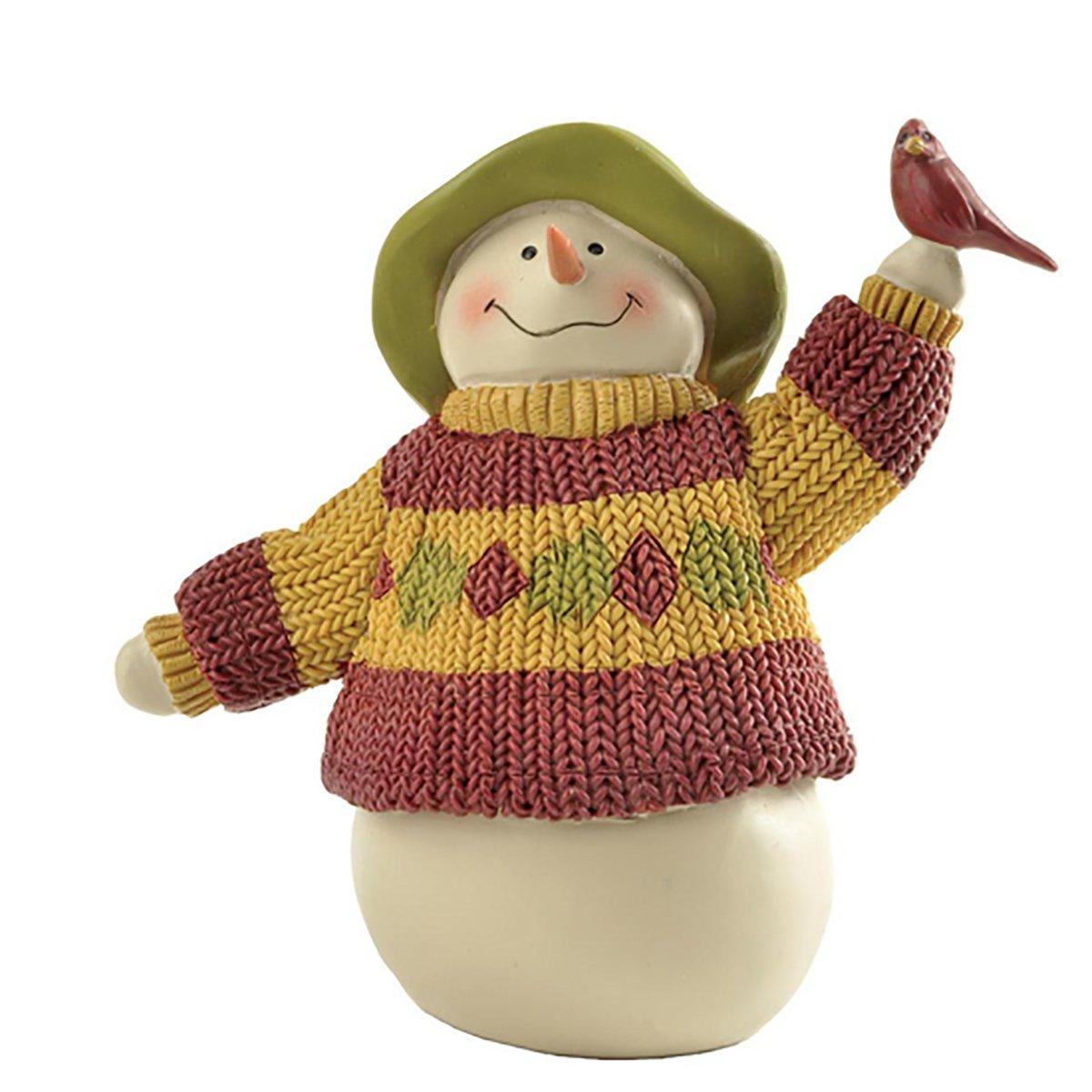 "ENNAS 4.13"" Tall Snowman with Cardinals Bird Figurines Collectibles Home Decor"
