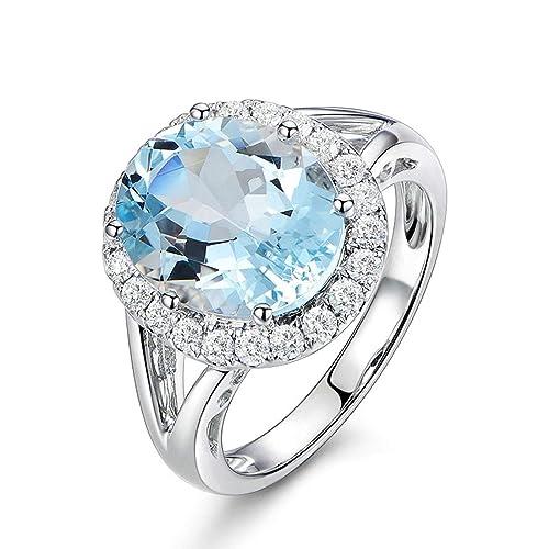 SonMo Ring Anillo Compromiso Oro Blanco Diamante Anillo Plata de Ley Mujer Anillos de Compromiso con Diamante Anillo de Blanco Oro Tamaño de Estados Unidos ...