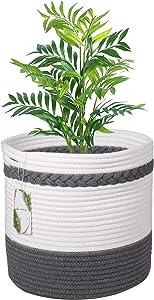 LEEPES Modern Nordic Style Cotton Rope Storage Bsket 11 Plant Basket Woven Flower Pot Floor Indoor Planters Organizer Home Decor White Dark Gray