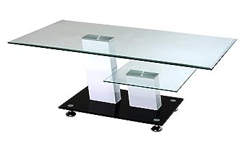 Degamo Couchtisch Glas Mit Zwei Ebenen 110x60x43cm Weiss Und