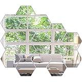 KimDaro Mirror Wall Stickers Non Glass Mirror Plastic Mirror 3D Hexagon Acrylic Mirror Wall Decor Self Adhesive Tiles…