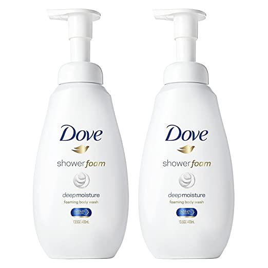 Dove Shower Foam - Foaming Body Wash - Deep Moisture - Net Wt. 13.5 FL OZ (400 mL) Per Bottle - Pack of 2 Bottles