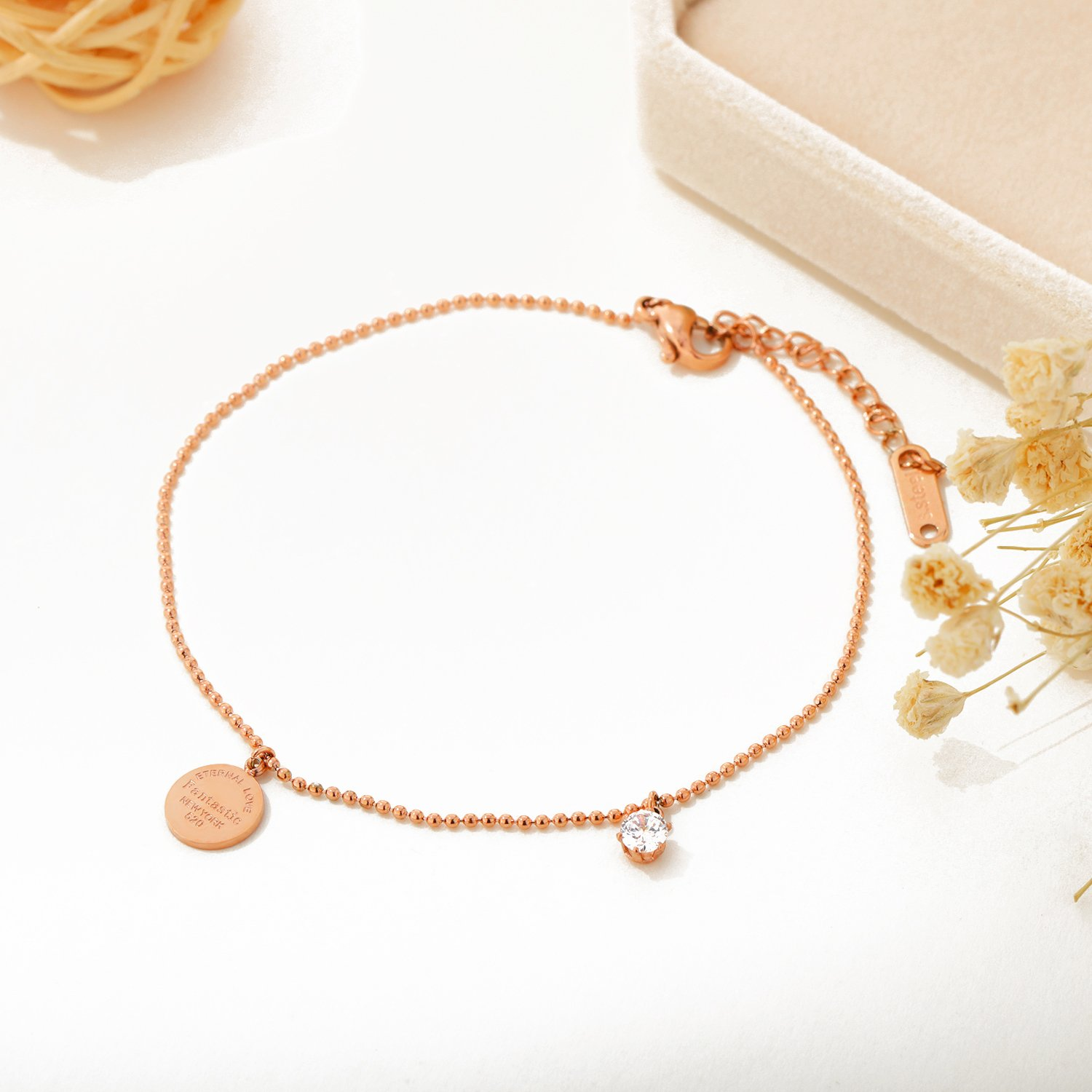 OPK Stainless Steel Rose Gold Women Anklet,Enternal Love Fantastic New York Link Chain Beach Foot Jewelry by OPK (Image #6)