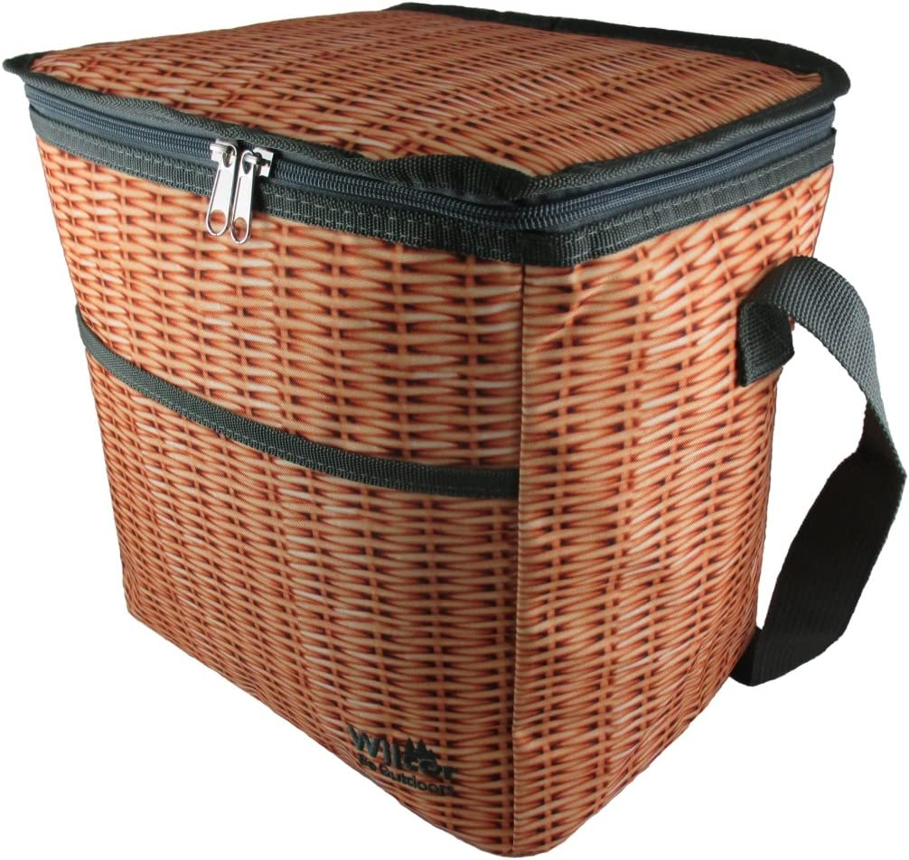 Picnic Basket Wicker Look 18-Can Insulated Cooler
