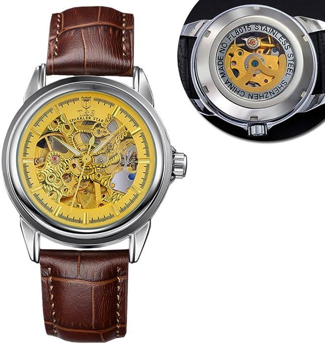 Reloj mecánico,Negocios luminoso hueco automática casual gran romana digital moda relojes-A