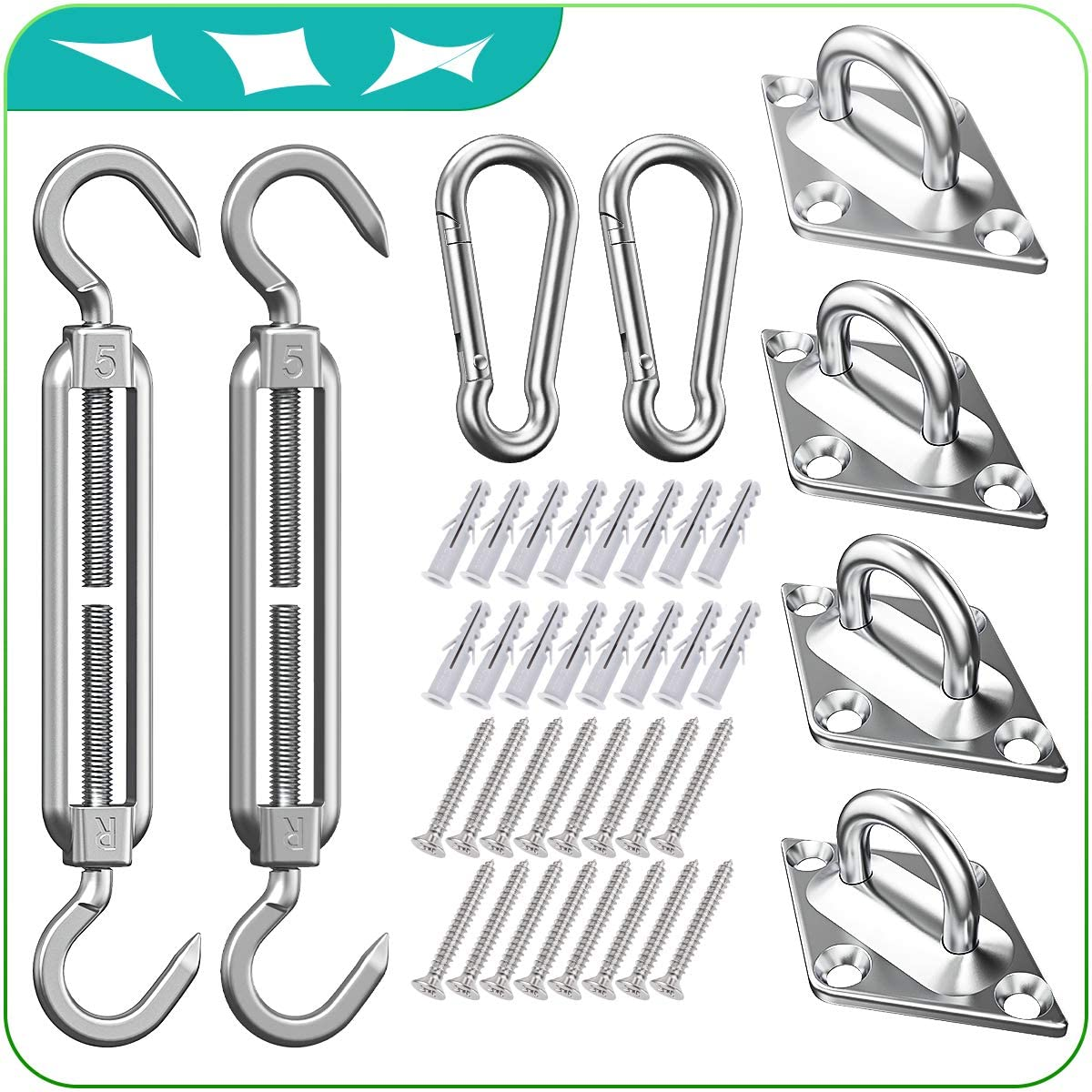 HELEMAN Shade Sail Hardware Kit for Rectangle/Square Sun Shade Sail Installation in Patio Lawn and Garden, Anti-Rust Sail Shade Hardware Kit of Heavy Duty (40Pcs)
