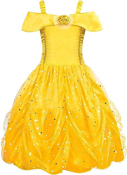 AmzBarley Disfraz de Princesa Belle Vestido de Fiesta Cosplay para ...