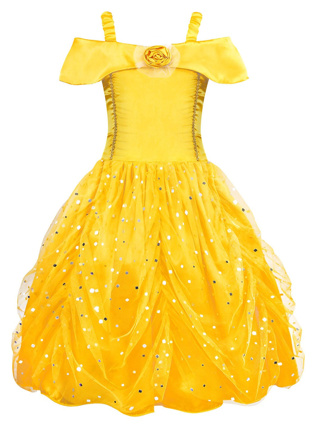 AmzBarley Princess Belle Costume Layered Dress for Kids Girls Halloween Cosplay Party Fancy Dress up Princess Belle Dress