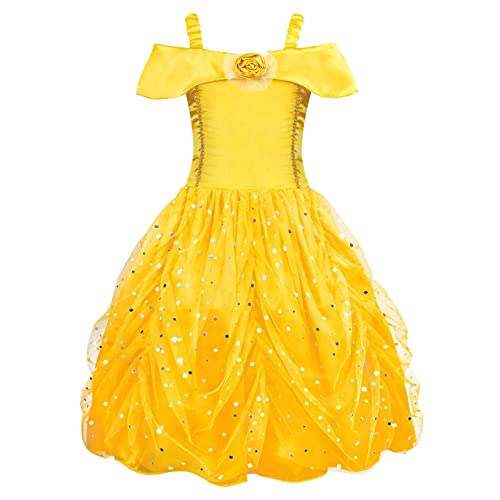 AmzBarley Princess Belle Costume Layered Dress for Kids Girls Halloween Cosplay Christmas Party Fancy Dress up
