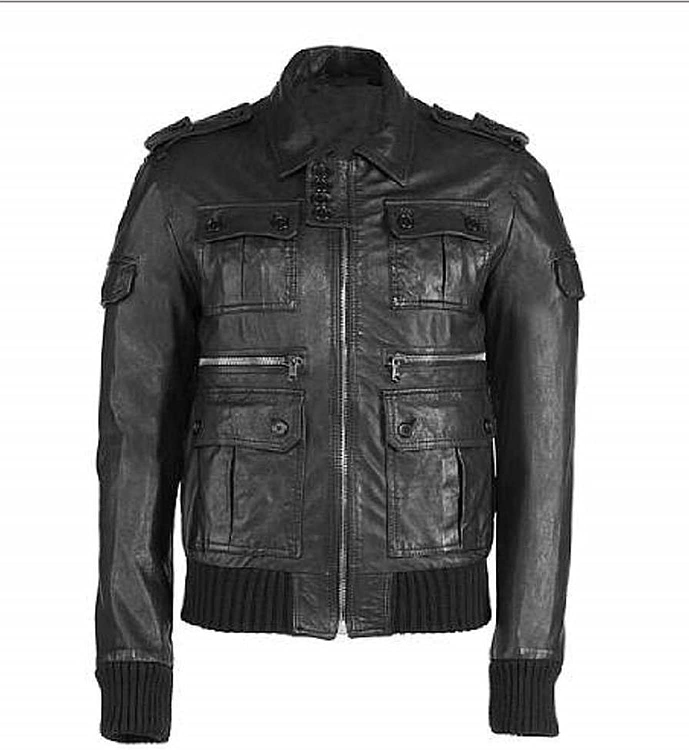 New Men Quilted Leather Jacket Soft Lambskin Biker Bomber T805