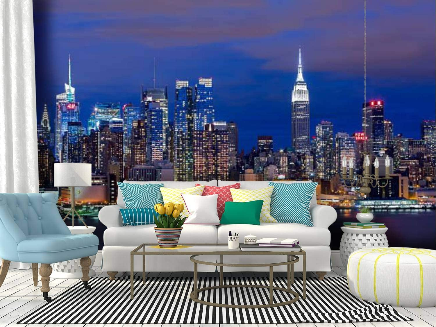 Amazon Com Self Adhesive Wallpaper Roll Paper New York Skyline At