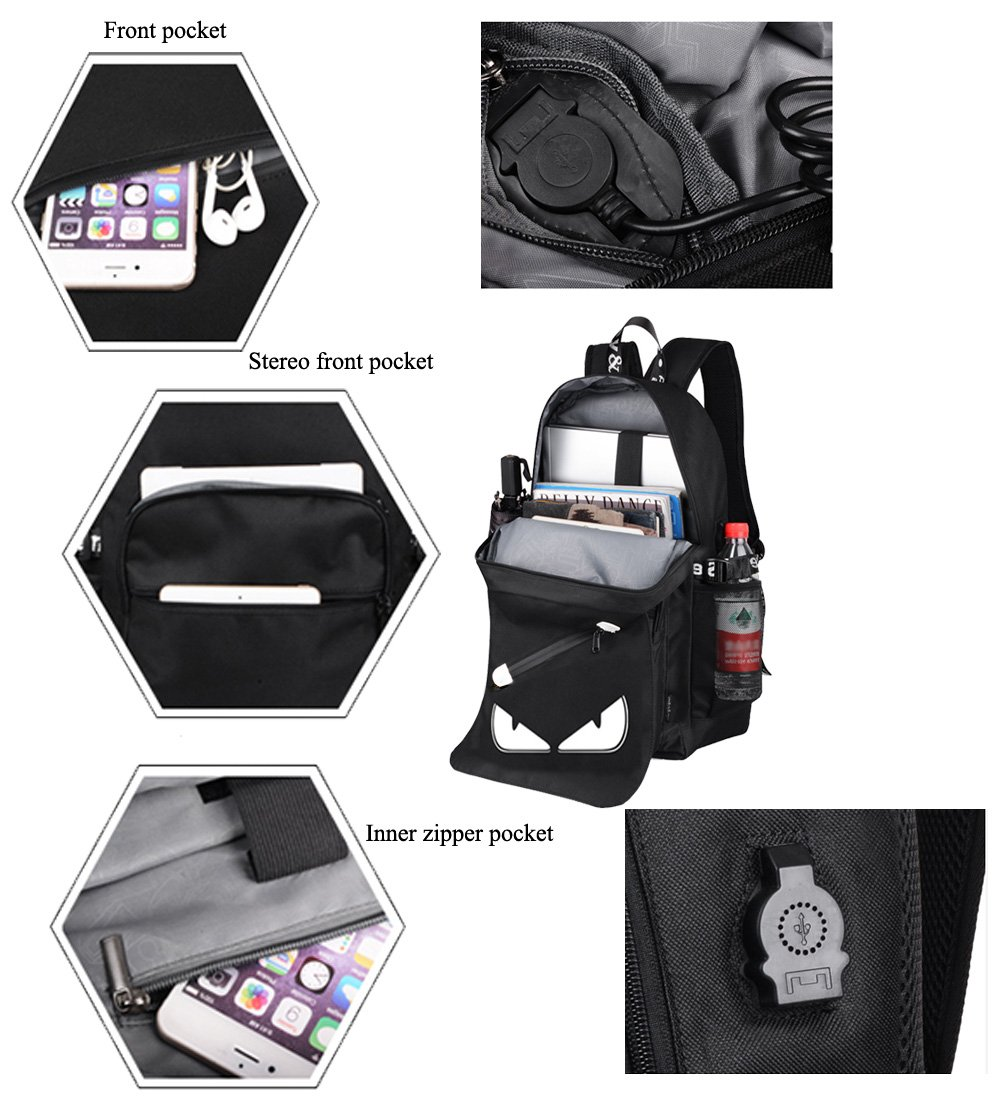 Anime Backpack Luminous Backpack Men School Bags Boys Girls Cartoon Bookbag Noctilucent USB Chargeing port&anti-theft Daybag Women (Evil eye) by VAQM (Image #7)