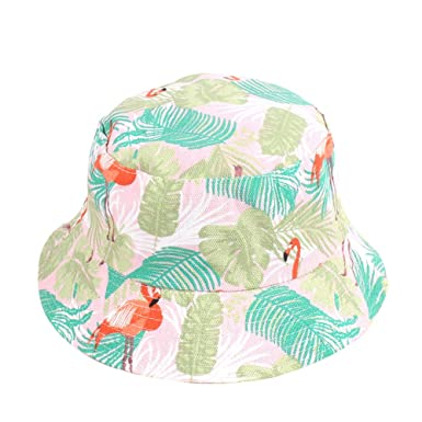 ba2926f6a4e MSYOU Canvas Reversible Bucket Hat Cute Flamingo Pattern Hat Summer  Foldable Sun Hat Outdoor Hats for