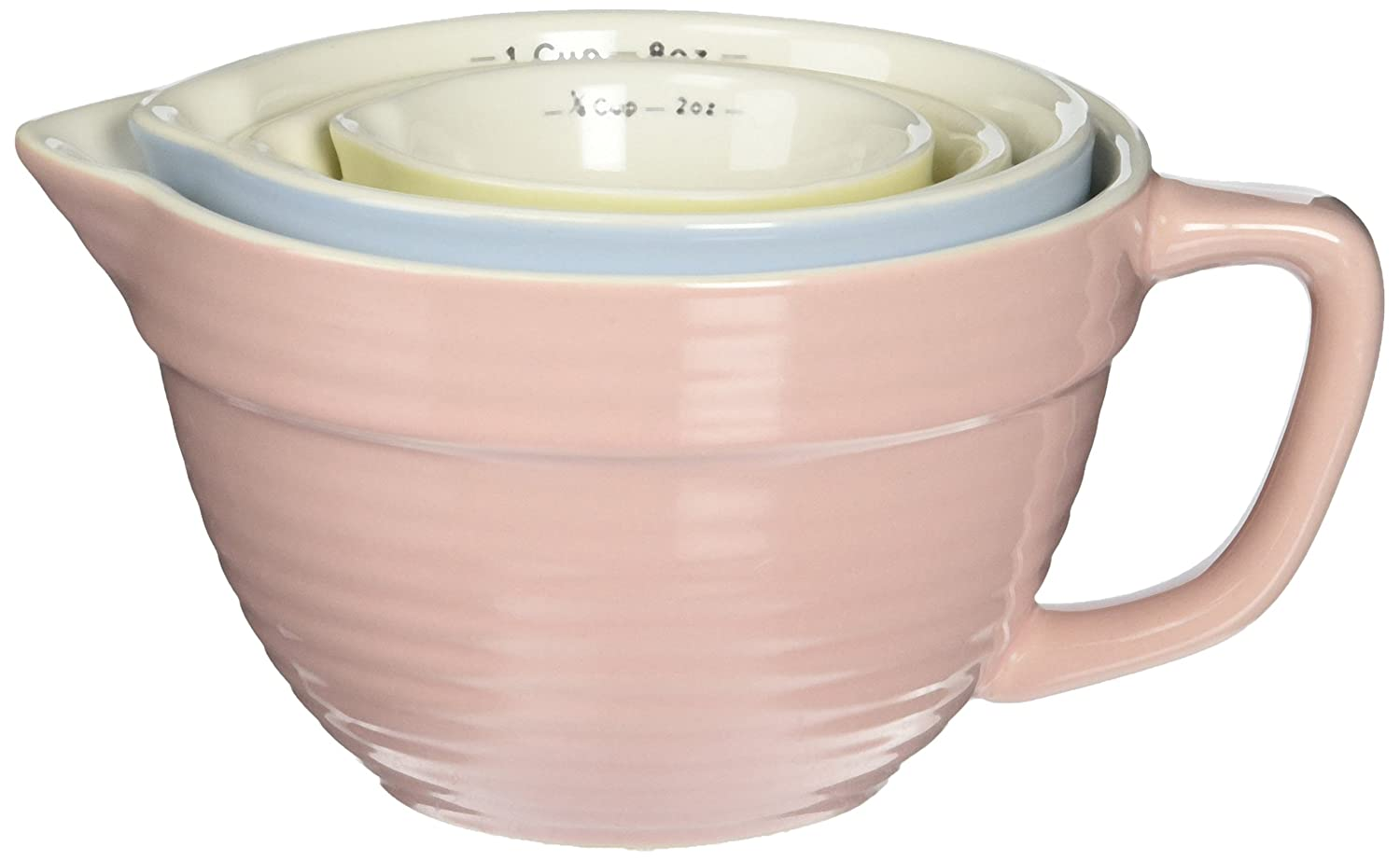 Creative Co-op Stoneware Measuring Cups, Multicolored, Set of 4 DA1803