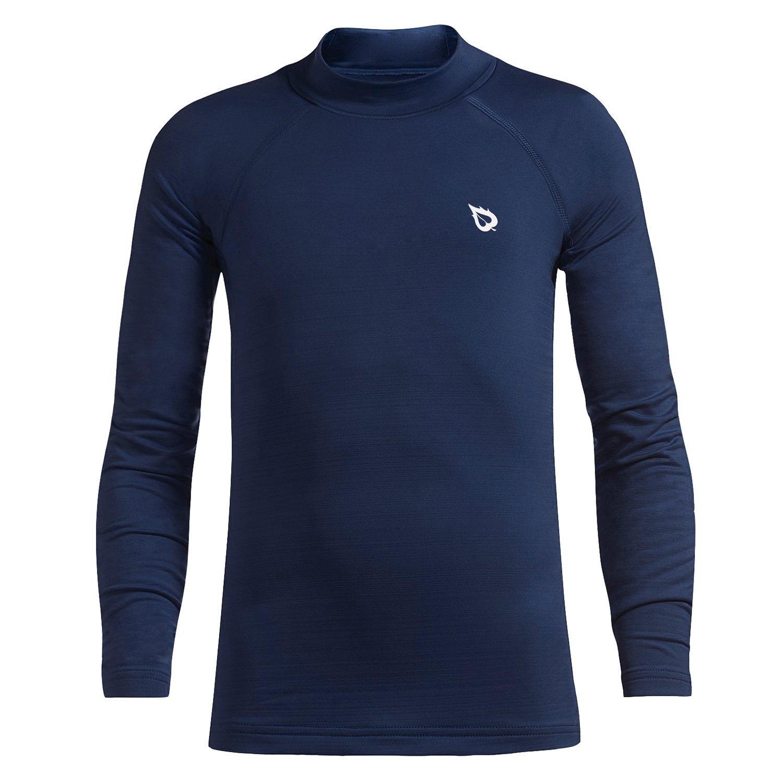 Baleaf Youth Boys' Compression Thermal Shirt Fleece Baselayer Long Sleeve Mock Top Navy Size S