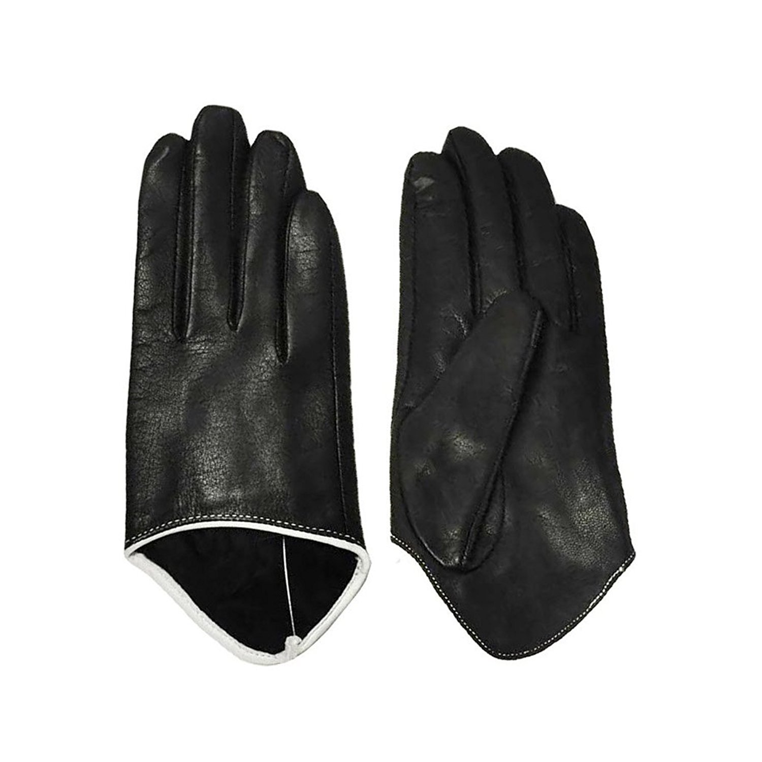 MoDA Ms Rome Womens Genuine Leather Gloves for Driving with Cut-Off Cuffs for Jewelry C0013-BK-M