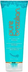 PURE BRAZILIAN Deep Conditioning Masque - Deep Conditioner Hair Treatment With Brazilian Keratin, Acai, and Arginine (8 Ounce / 236 Milliliter)