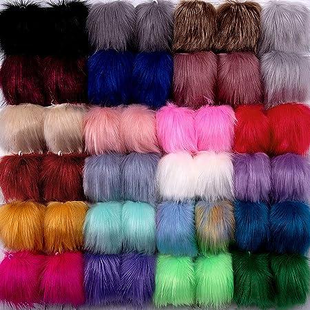 23 Mild Colors, 2 Pcs for Each Color SIQUK 46 Pieces Faux Fur Pom Pom Balls DIY Faux Fox Fur Fluffy Pom Pom with Elastic Loop for Hats Scarves Gloves Bags Accessories