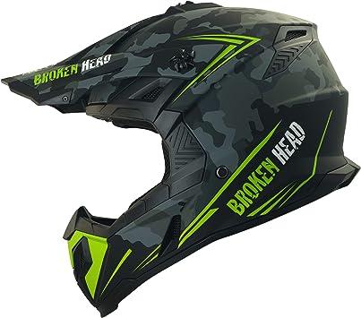Broken Head Squadron Rebelution Leichter Motocross Enduro Helm Camouflage Grau Größe L 59 60 Cm Auto