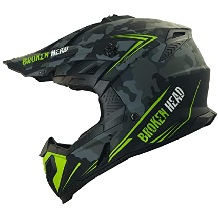 Broken Head Squadron Rebelution camouflage grau Cross-Helm | MX Motocross Helm - Quad-Helm - Sumo-Helm (S 55-56 cm)