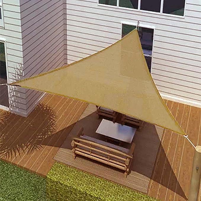BIG Oversized Tan Triangle Sun Shade Tarp Blocker Sail 16.5' Desert Sand Color