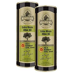 Ellora Farms, 2020 Gold Award Winner, Single Origin & Single Estate Greek Extra Virgin Olive Oil, First Cold-Press,Kosher, Phenol Rich, 16.9 oz. BPA-free tins, Pack of 2