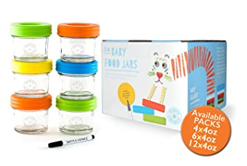 Glass Baby Food Storage Containers   Set Contains 6 Small Reusable 4oz Jars  With Airtight Lids