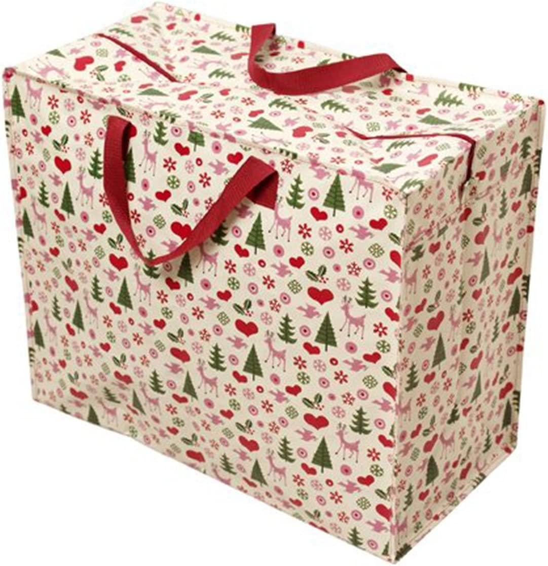 Christmas Large Storage Bag with Zip - Strong and Durable 55 x 48 x 28cm 70l - Retro Xmas Print