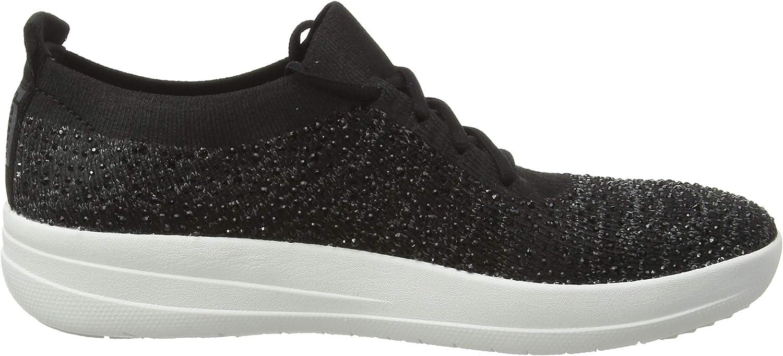 Fitflop Damen F-Sporty Uberknit Sneakers - Crystal Sneaker, Pflaume Schwarz Black 001