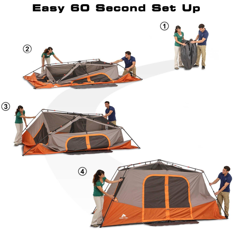Amazon.com  Ozark Trail 8 Person 2 Room Instant Cabin Tent Orange/Tan  Sports u0026 Outdoors  sc 1 st  Amazon.com & Amazon.com : Ozark Trail 8 Person 2 Room Instant Cabin Tent Orange ...