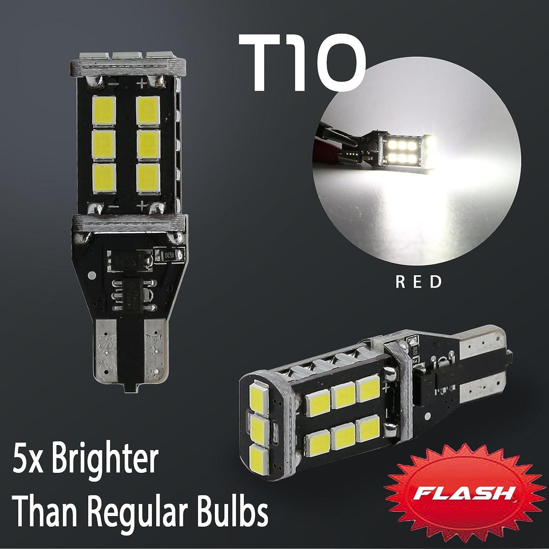 2X T10 921 912 60W White Flash Strobe LED 3RD Brake High Mount Stop High Power Light Bulbs