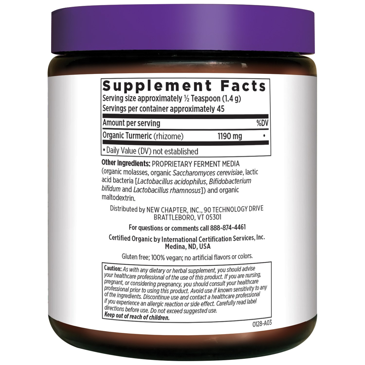 New Chapter Organic Turmeric Powder – Fermented Turmeric Booster Powder for Brain, Heart and Inflammation Support 45 Servings