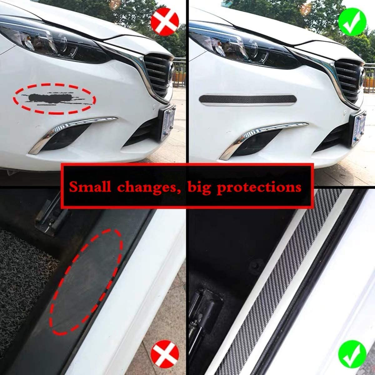 Door Entry Guards,width 1.96Inch HengJia Auto Parts carbon fiber Door Sill Entry Guards,Paint Protection Guard,before Rear Bumper Guard Scratch scratch protection strip,Arbitrary cutting 98.4Inch