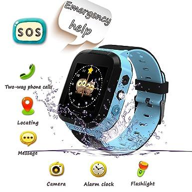 Smartwatch para Niños, Llamada de Emergencia SOS, localizador GPS, Perímetro de Seguridad, Cámera, Alarma, Linterna, Juegos Digitales, Reloj ...