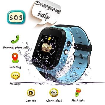 UK XUN Smartwatch para Niños, Llamada de Emergencia SOS, localizador GPS, Perímetro de Seguridad, Cámera, Alarma, Linterna, Juegos Digitales, Reloj ...