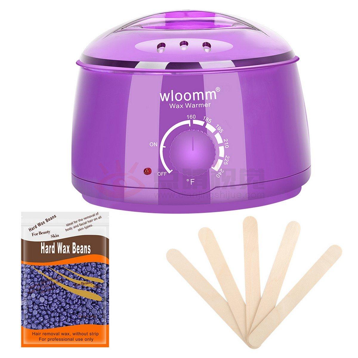 Wax Warmer Kit Wloomm 14oz Electric Hot Wax Warmer Hair Removal with 300g Hard Wax Beans and 5pcs Wax Applicator Sticks for Men & Women (Purple)