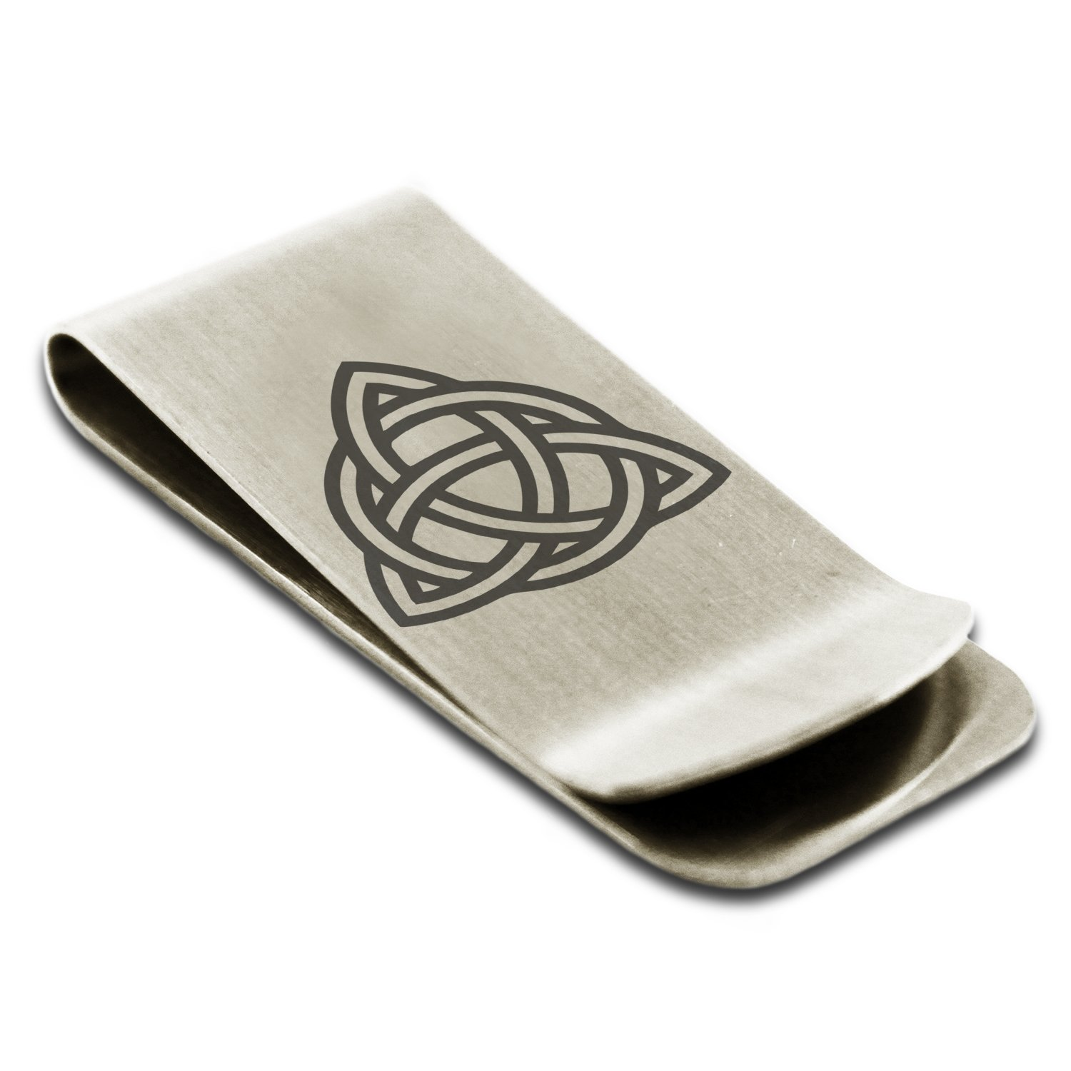 Stainless Steel Triquetra Holy Trinity Symbol Engraved Money Clip Credit Card Holder Tioneer RE006-ESM004