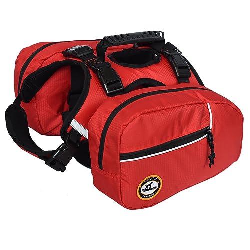 Dog Backpack Pet Saddlebag Vest Harness Hound Hiking Gear,Reflective Safety Adjustable Saddlebag Outdoor Camping Travel Accessories with 2 Removable Packs for Large Dog Breeds Products (L)