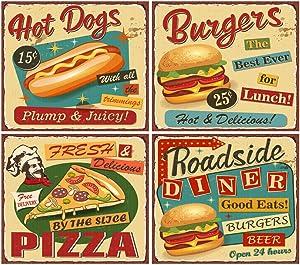 DIY 5D Diamond Painting Kit Retro Fast Food Vintage Diner Sign Burger Restaurant 1950S Menu Metal 16